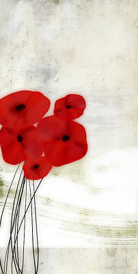 Painting - Red Poppies Abstract Art  by Ann Powell