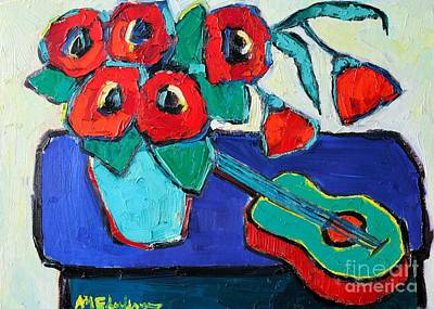Red Poppies And Guitar  Art Print by Ana Maria Edulescu