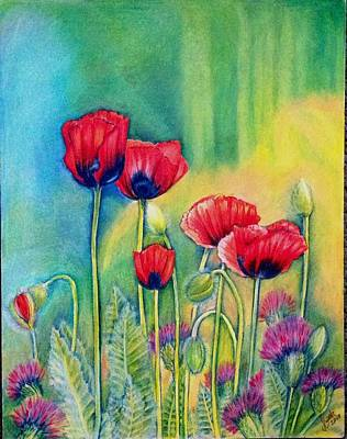 Poppies Field Drawing - Red Poppies And Thistles by Julia Gatti