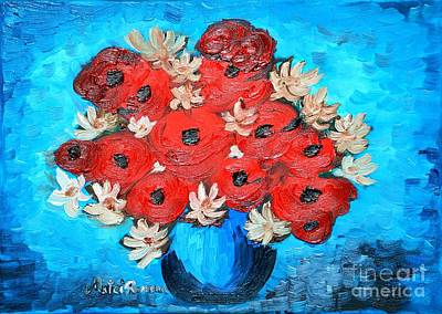 Red Poppies And White Daisies Art Print