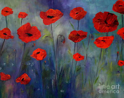 Painting - Red Poppies Blue Fog by Claire Bull