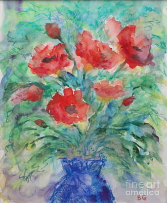 Leafy Mixed Media - Red Poppies Blue  Vase by Bernice Grundy