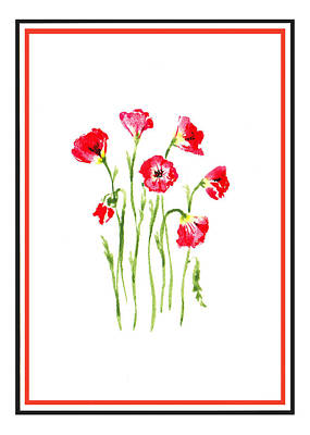 Painting - Red Poppies Bunch by Irina Sztukowski