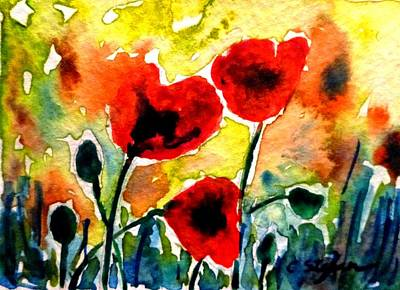 Tuscany Painting - Red Poppies by Cristina Stefan