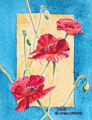 All Poppies Painting - Red Poppies by Deb  Harclerode