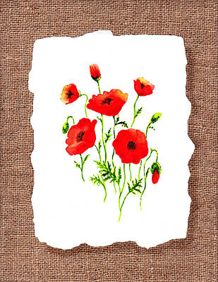Hand Made Painting - Red Poppies Decorative Collage by Irina Sztukowski