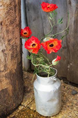 Photograph - Red Poppies Flowers In Milk Churn  by Matthias Hauser