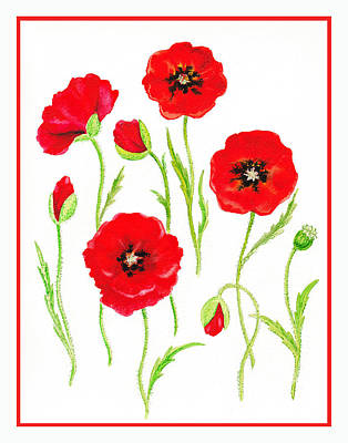 Beautiful Landscape Painting - Red Poppies by Irina Sztukowski