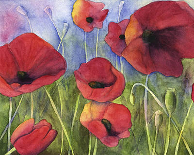 Painting - Red Poppies by Kerrie  Hubbard