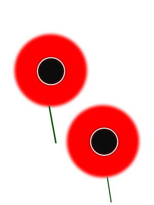 Digital Art - Red Poppies Minimalist Poster by Celestial Images