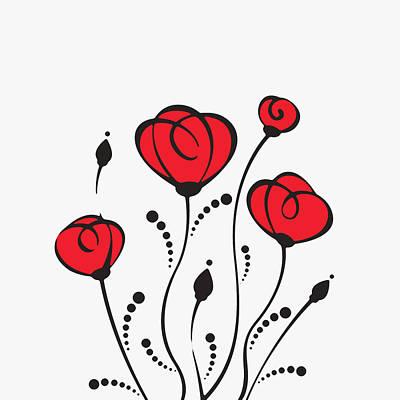 Development Mixed Media - Red Poppies by Olga Zelenkova