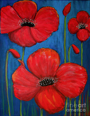 Painting - Red Poppies On Blue by Lee Owenby