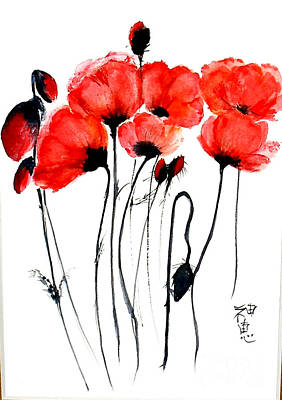 Painting - Red Poppies by Sibby S