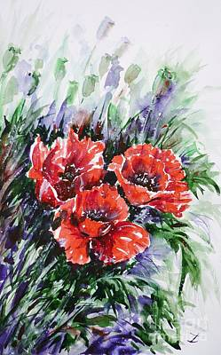 Painting - Red Poppies by Zaira Dzhaubaeva