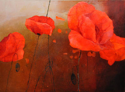 Red Poppy Painting - Red Poppy At Dawn by Istvan Korbely