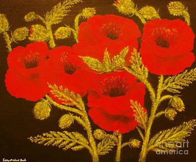 Painting - Red Poppy-original Sold-buy Giclee Print Nr 31 Of Limited Edition Of 40 Prints  by Eddie Michael Beck