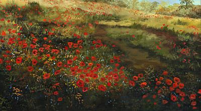 Painting - Red Poppy Field by Cecilia Brendel
