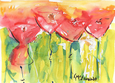 Red Poppy Party Art Print by Kathleen McElwaine