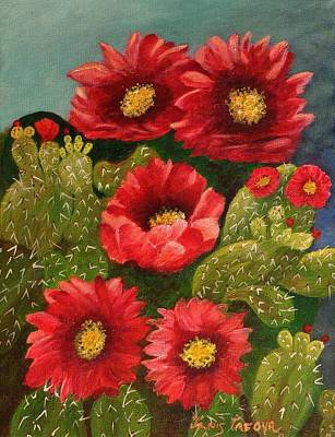 Pinion Painting - Red Prickley Pear Cactus Flower by Janis  Tafoya
