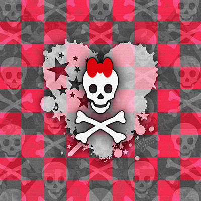 Digital Art - Red Princess Skull Heart by Roseanne Jones