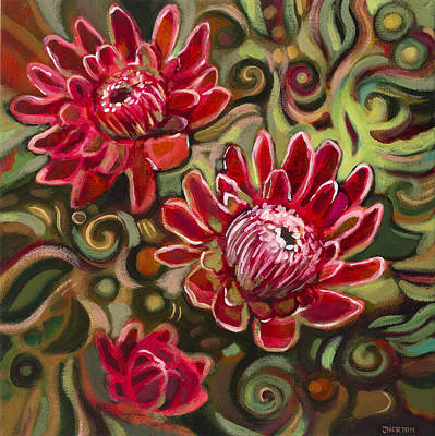 Water Droplets Sharon Johnstone - Red Proteas by Jen Norton