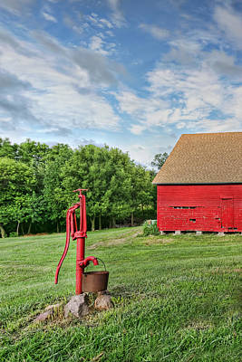 Corn Crib Photograph - Red Pump In Summer by Nikolyn McDonald