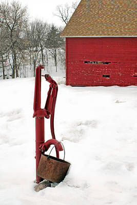 Corn Crib Photograph - Red Pump In Winter by Nikolyn McDonald