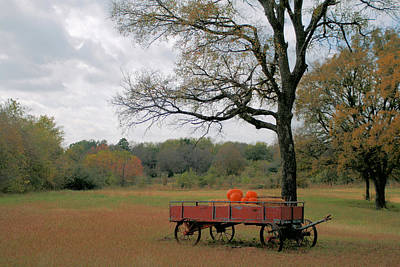 Red Pumpkin Wagon Art Print by Paulette Maffucci