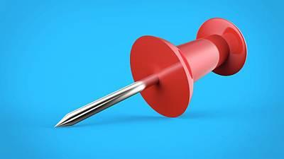 Red Push Pin Art Print