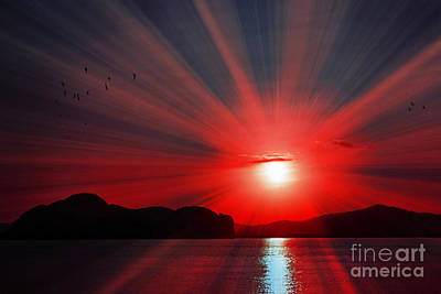 Digital Art - Red Radiance by Kaye Menner