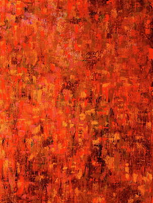 Large Abstract Acrylic Painting - Red Rain by Betty OHare