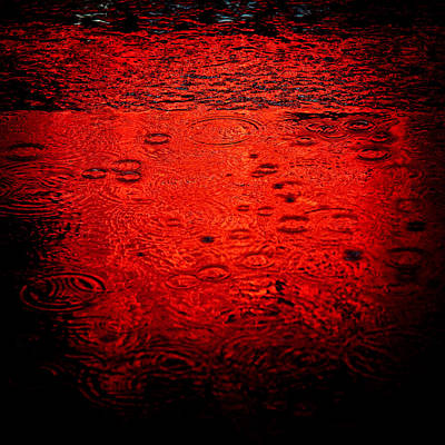 Times Square Photograph - Red Rain by Dave Bowman