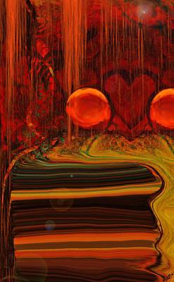 Abstract Hearts Digital Art - Red Rain by Linda Sannuti