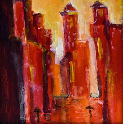 Red Rainy City Art Print by Maxim Komissarchik