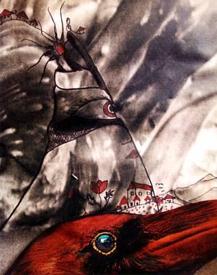 Drawing - Red Raven by Branko Jovanovic