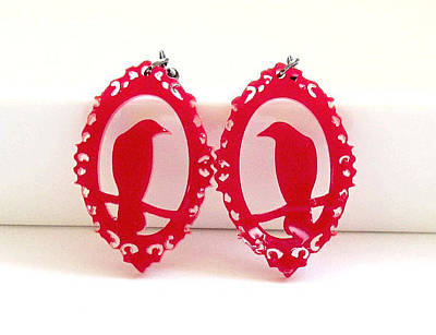 Perspex Jewelry Jewelry - Red Raven In A Victorian Frame Earrings by Rony Bank