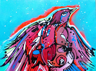 Art Print featuring the painting Red Raven by Nicole Gaitan