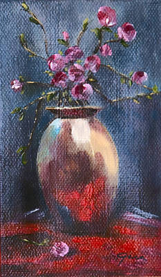 Table Cloth Painting - Red Reflections by Gina Cordova