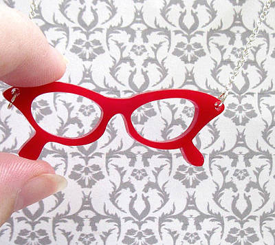 Perspex Necklace Jewelry - Red Retro Glasses Necklace by Rony Bank