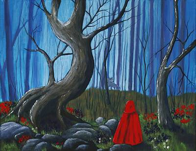 Red Rocks Drawing - Red Riding Hood In The Forest by Anastasiya Malakhova