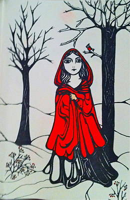 Drawing - Red Riding Hood by Rae Chichilnitsky