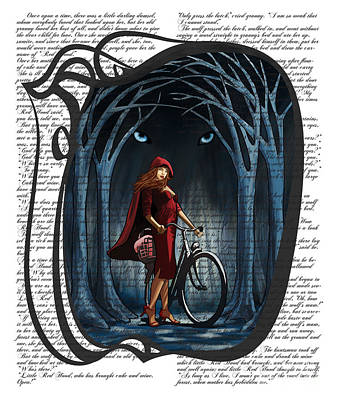 Wolves Digital Art - Red Riding Hood With Text by Sassan Filsoof