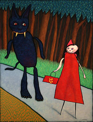 Fairy Wall Art - Painting - Red Ridinghood by James W Johnson