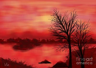 Red River Art Print by Judy Via-Wolff