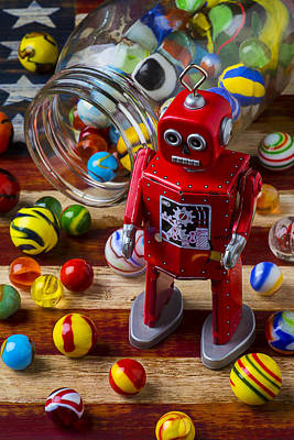Red Robot And Marbles Art Print by Garry Gay