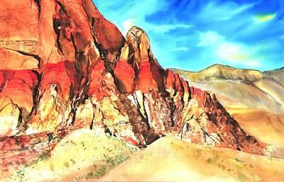 Red Rock #1 Art Print by Betty M M   Wong