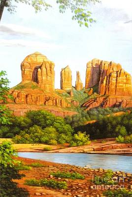 Red Rock Painting - Red Rock Crossing In Sedona by Jessi and James Gault