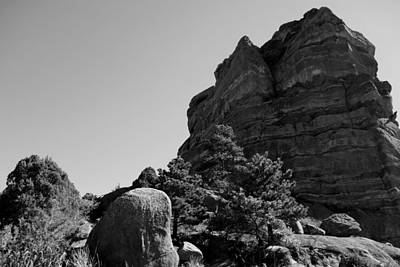 Photograph - Red Rock In Black And White by Ann Powell