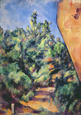 Victoire Painting - Red Rock by Paul Cezanne
