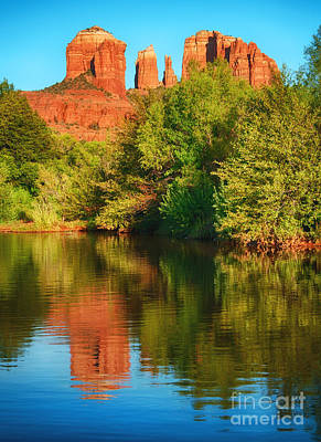 Red Rock Reflection Art Print by Claudia Kuhn